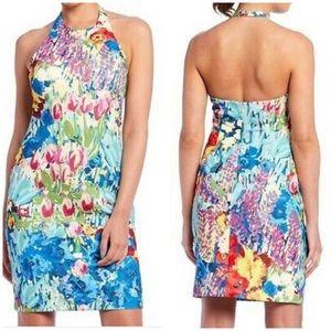 Belle Badgley Mischka floral Fatima halter dress